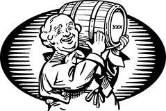 Man With Keg Of Whiskey Royalty Free Stock Photo