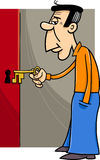 Man with key cartoon. Cartoon Illustration of Man Opening Door with Key Stock Photo