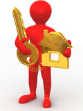 Man with key and trinkets. 3d. Very beautiful three-dimensional illustration, figure Stock Photography