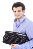 Man with keyboard Royalty Free Stock Images
