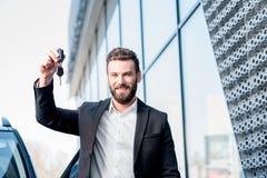 Man with keys near the car Stock Photo