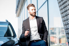Man with keys near the car Royalty Free Stock Photos