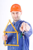 Man with keys and rulers Stock Photography