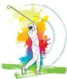Golf Player, A man kicking golf ball. A man kicking golf ball Royalty Free Stock Image