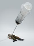 Man killed by a syringe Stock Photography