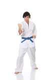 Man in a kimono. Karate. Man in a kimono , isolated on the white background Royalty Free Stock Images