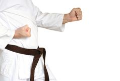 Man in a kimono and belt for martial arts. On the white background Stock Images