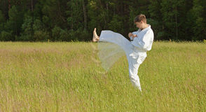 Man in kimono fulfills blows by feet in field Stock Photos