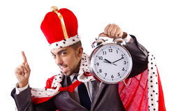 Man king with clock isolated Royalty Free Stock Photography