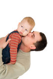 Man kiss his son. Isolated on white Stock Photo