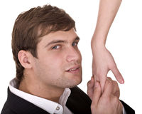 Man kiss woman hand with love. Royalty Free Stock Photos