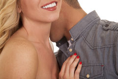 Man kiss woman neck close mouth smile Stock Images