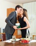 Man kisses  girl Stock Photos