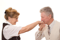 Man kisses the hand Stock Images
