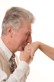 Man kisses the hand. Of an woman royalty free stock photo