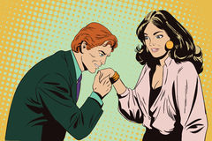 Man kisses a hand to girl. vector illustration