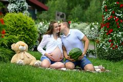 Man kisses his pregnant wife. funny pregnant girl with her husband play with watermelon and plush bear royalty free stock photos