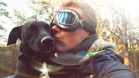 Man kissing dog royalty free stock photos