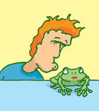 Man kissing a female frog Stock Images