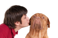 Man kissing his funny dog isolated on white Royalty Free Stock Images