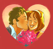Man is kissing smiling girl with a bouquet Stock Photography