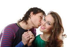 Man kissing woman. On white background Stock Image