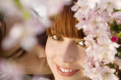 Man Kissing Woman Behind Blooming Tree Stock Photography