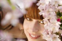 Man Kissing Woman Behind Blooming Tree Stock Photography