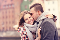 Man kissing a woman on a date Royalty Free Stock Photo