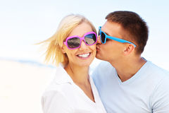 Man kissing a woman Royalty Free Stock Image