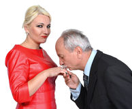 Man kissing woman's hand Royalty Free Stock Photos