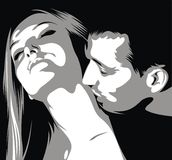 Man is kissinig woman on her neck Royalty Free Stock Photos
