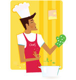 Man in the kitchen. Chef in style kitchen  – vector Illustration Stock Images