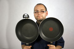 Man with kitchen accessories Royalty Free Stock Image
