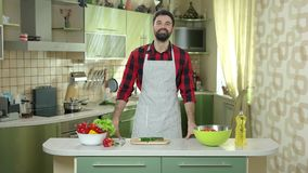 Man in the kitchen. stock footage