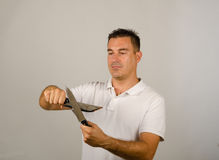 Man with kitchen knives Royalty Free Stock Photo
