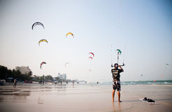 Man With Kite Stock Photos