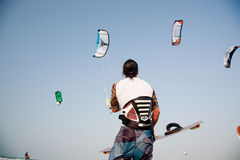 Man With Kite Stock Photography