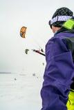 Man kite skiing Stock Photos