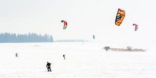 Man kite skiing Stock Images
