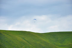A man on kite in the sky Stock Images