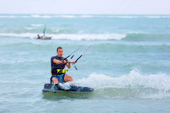 Man kite surfer in action Royalty Free Stock Photo