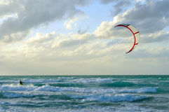 Man kite-surfing in Atlantic Ocean Royalty Free Stock Photos
