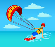 Man kitersurfing on sea. Man kitersurfing on water cartoon vector illustration Stock Photos