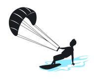 Man kitersurfing silhouette Stock Image