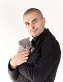 Man with kitten Royalty Free Stock Photo