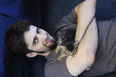 Man and Kitten Royalty Free Stock Image
