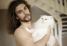 Man and kitty Royalty Free Stock Image