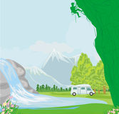 Man klättringen på en kalkstenvägg med den breda dalen vektor illustrationer