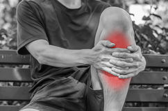 Man with knee pain and feeling bad Stock Image